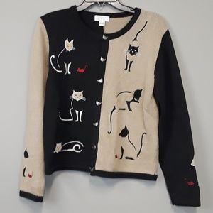 Christopher & Banks Cat design cardigan sweater